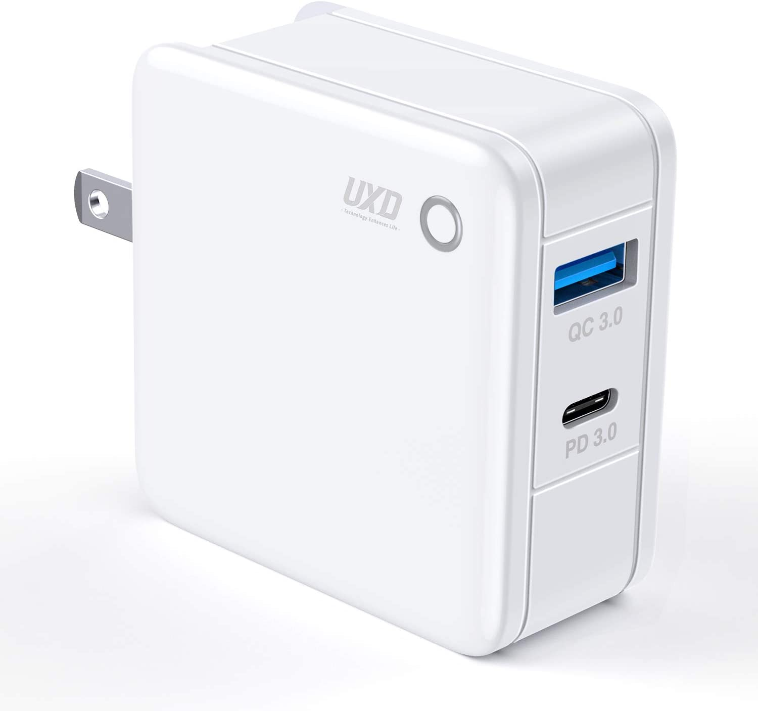 36W USB C Charger, UXD Dual 18W Port Fast Charger with Power Delivery Wall Charger, Home Charger with Foldable Plug for iPad Pro, iPhone 11/11 Pro/XS/Max/XR/X, Galaxy, etc.