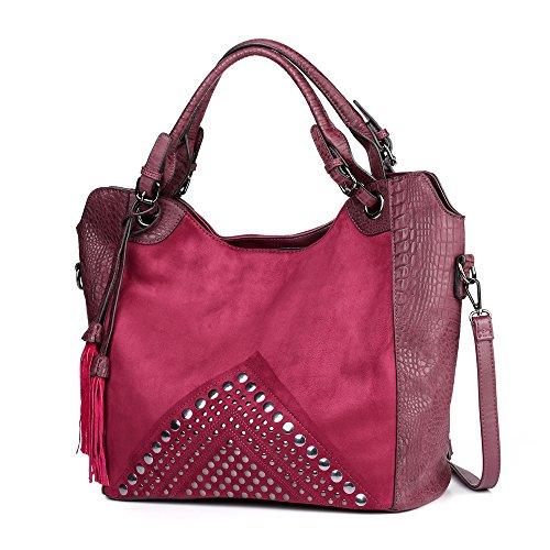 Crocodile Embossed Leather Handbag (Womens Suede Crocodile Embossed Leather Fashion Purse Designer Handbag Top Handle Hobo Large Tote By Vanillachocolate (Amaranth))