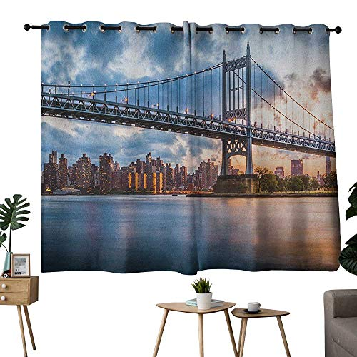 NUOMANAN Blackout Curtains New York City,Kennedy Triboro Bridge in Queens New York Manhattan River Scenery, Peach Blue Orange,Blackout Draperies for Bedroom Living Room -