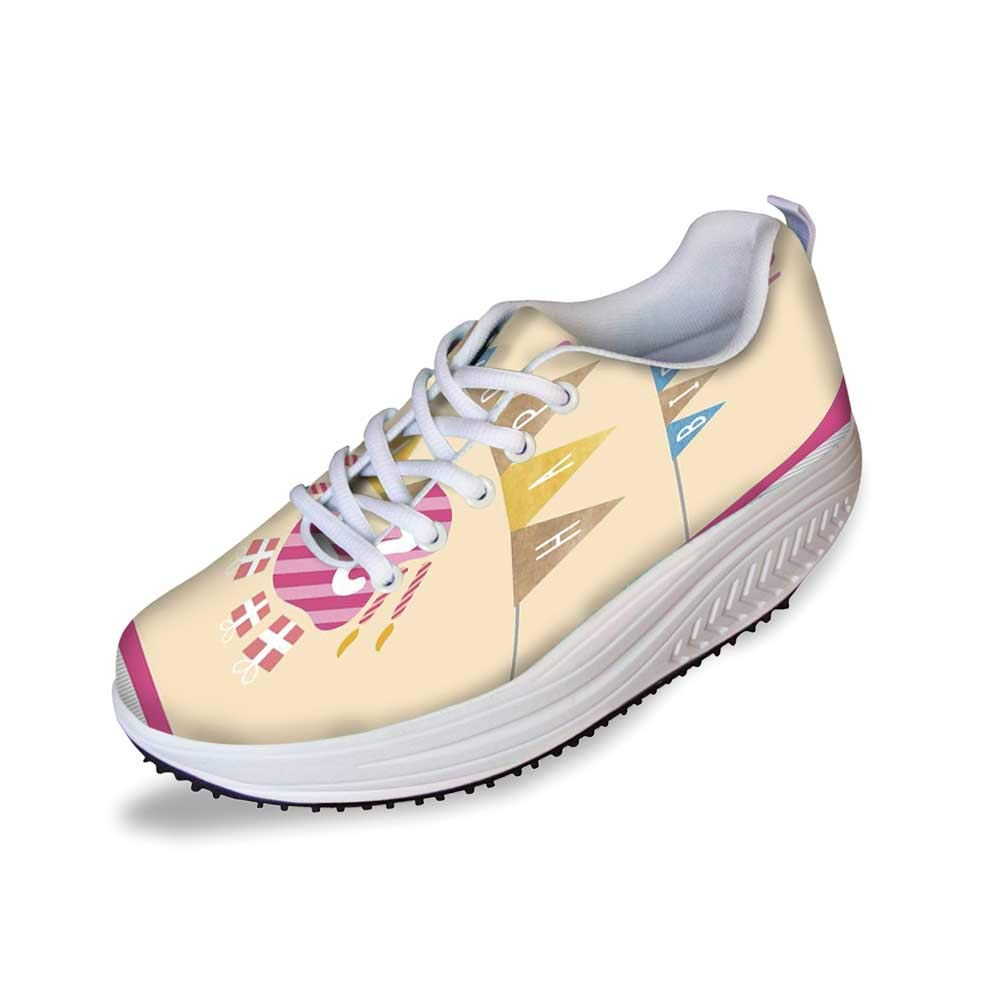 22nd Birthday Decorations Stylish Shake Shoes,Happy Birthday to You with Candies Cake Candles Cute Print for Women,7