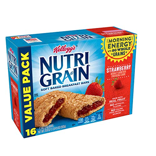 Kellogg's Nutri-Grain, Soft Baked Breakfast Bars, Strawberry, Made with Whole Grain, Value Pack, 3 Packages of 20.8 oz ( 16 Count)