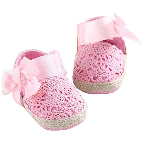 Pink First Walkers (Royal Victory R&V Baby Girls' Crochet Knit Soft Sole Anti-Slip Bow Infant First Walker Toddler Sandals (S:0-6 Months, Pink))