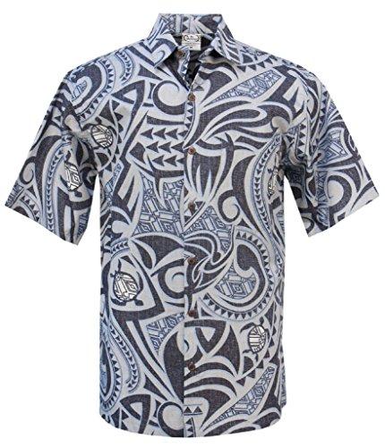 Barefoot Go Hawaiian Shirt (Go Barefoot Tribal Turtle - Men's Hawaiian Reversed Print Aloha Shirt - in Black - X-Large)