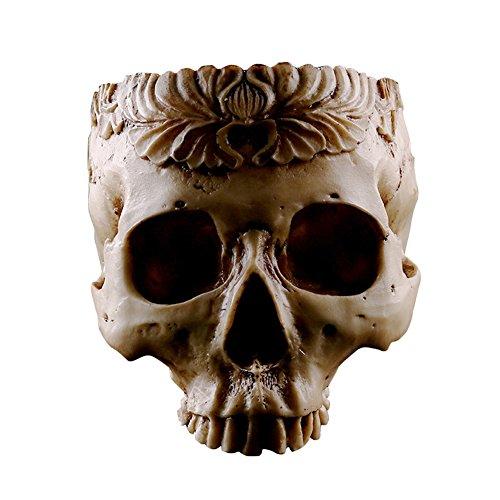Infgreate Exquisite Ornaments Human Skull Head Flower Pot Garden Planter Resin Container Halloween Decor -