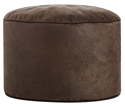 Gouchee Home S3194070 Dotcom Cuba Pouf Collection Contemporary Faux Suede Upholstered Round Pouf/Ottoman, Brown (Storage Ottoman Suede Round)