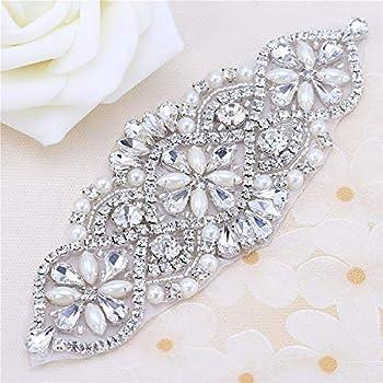 Bridal Belt Rhinestone Applique with Pearls for Wedding Dress Decorative  Bags Headbands 91f921eeb633