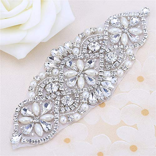 Bridal Belt Rhinestone Applique with Pearls for Wedding Dress Decorative Bags Headbands ()