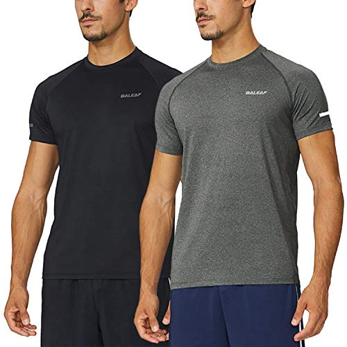 Baleaf Men's Quick Dry Short Sleeve T-Shirt Running Fitness Shirts Black/Grey Heather Size -