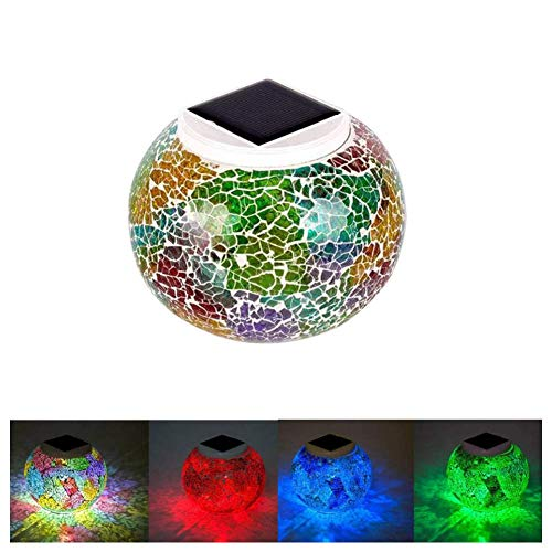 Solar Powered Mosaic Glass Ball Table Lights Lamp,Color Changing Solar Night Lights,Waterproof Rechargeable Solar Garden Lights for Indoor or Outdoor Decorations,Ideal Gifts by Etzon