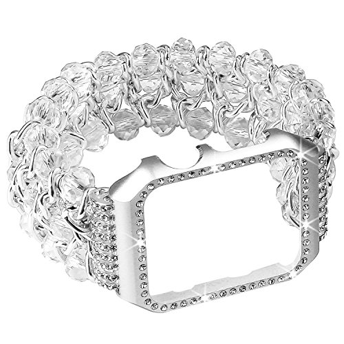 Beaded Watch Band with Bling Metal Case, Elastic Handmade Crystal Bracelet Jewelry Replacement Strap Shock-proof Rhinestone Protective Cover for Watch 42mm Series 3,2,1 (Silver, 42mm)