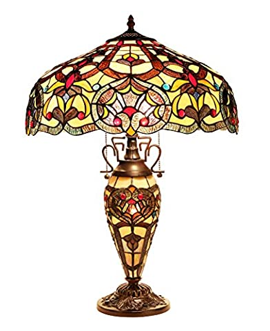 Chloe Lighting CH33473IV18-DT3 Sadie Tiffany-Style Victorian 3-Light Double Lit Table Lamp with 18-Inch - Mission Double Shade Table Lamp