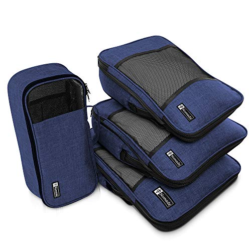 Compression Packing Cubes Travel Luggage-Organizer Set Packs More in Less Space (Navy Blue)