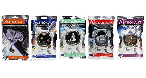 Astronaut Ice Cream Neapolitan, Mint, Cookies & Cream, Sandwich and Chocolate Chip Freeze Dried Food PACK OF (Nasa Space Food)