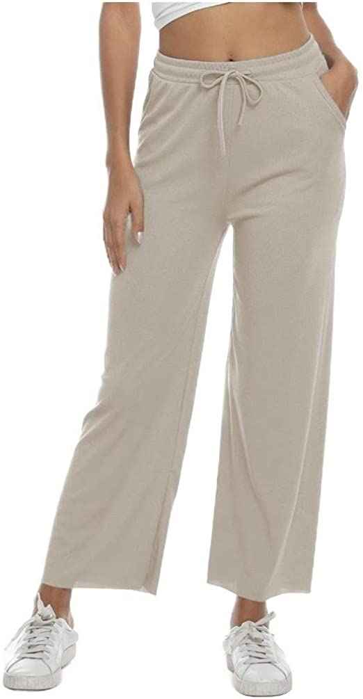 VITryst Womens Tenths Pants Lounge Elastic Drawstring Cozy Wide Leg Pants