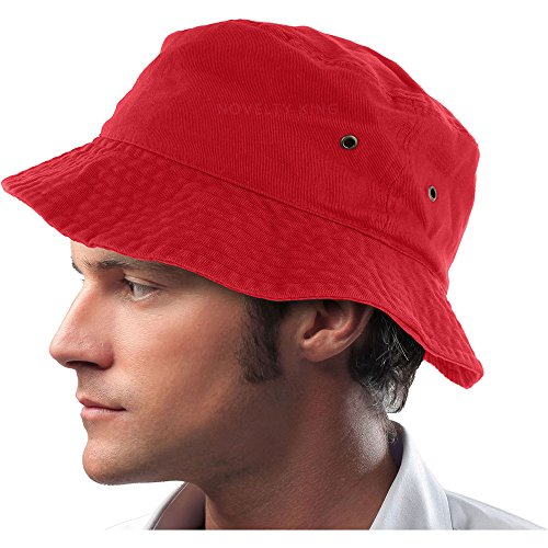 Mens 100% Cotton Fishing Hunting Summer Bucket Cap Hat (S/M, Red) -