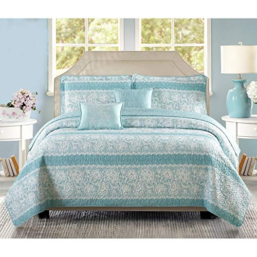 Oversized Teal Aqua Floral Bedding King Quilt Bed Set Geometric Pattern Farmhouse Theme Motif Flowers Floral, 5 Piece Polyester 122x106