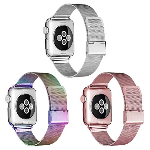 HILIMNY Compatible for Apple Watch Band 38mm 40mm, Stainless Steel Mesh Sport Wristband Loop with Adjustable Magnet Clasp for iWatch Series 1/2 / 3/4