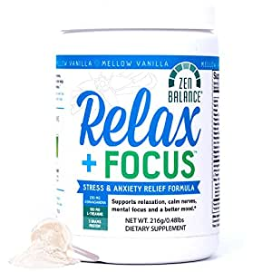 Relax + Focus Anxiety Relief - Stress Support Drink Powder Helps Mental Focus - Relaxation Supplement Blended with Herbs Vitamins Protein Powder Ashwagandha L-Theanine