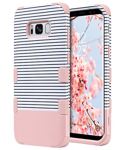 Galaxy S8 Case, ULAK 3 in 1 Shield Anti-slip Shock Absorbing Protective Case with Hybrid Cover Soft silicone + Hard PC Design for Samsung Galaxy S8, Minimal Stripes Rose Gold