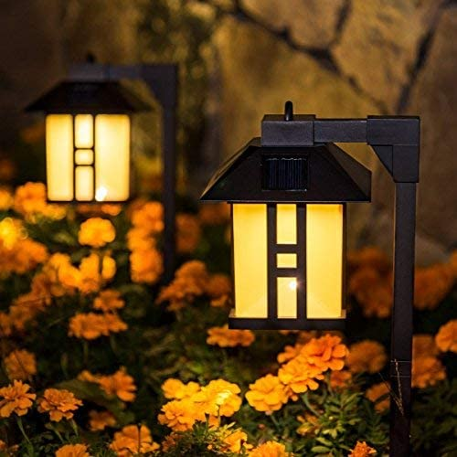 GIGALUMI Solar Powered Path Lights, Solar Garden Lights Outdoor, Landscape Lighting for Lawn Patio Yard Pathway Walkway Driveway 4 Pack