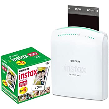 Fujifilm Instax Share Smartphone Portable Printer SP-1 With Fujifilm Instax Mini Instant Film, 10 Sheets (5-Pack = 50 Sheets)