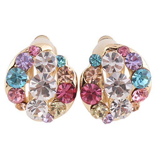 Grace Jun Bridal Multicolor Rhinestone Crystal Gold Plated Clip On Earrings Without Piercing 8 Colors Choose (178mix) (Clip On Earrings For Adults)