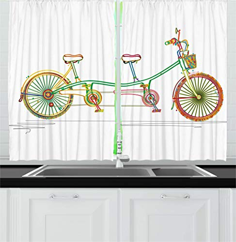 Kitchen Curtains, Colorful Tandem Bicycle Design on White Background Pattern Clipart Style Print, Window Drapes 2 Panels Set for Kitchen Cafe, 55 W X 39 L Inches, Multicolor ()