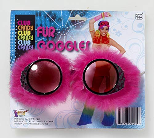 forum novelties women's club candy novelty faux fur goggles, pink, one size -