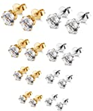 ORAZIO 8 Pairs Stainless Steel Stud Earrings For Mens Womens Clear Round Cubic Zirconia Inlaid, 3mm-6mm