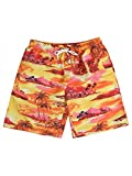 Hopioneer Men's Quick Dry Swimwear Beach Printed Tropical Hawaiian Swim Trunks - S