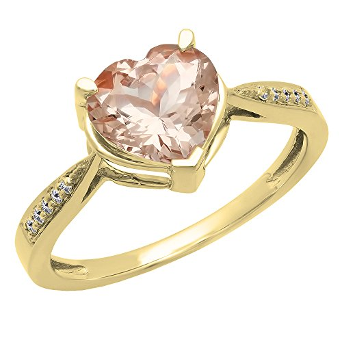 Dazzlingrock Collection 14K Heart-Shaped Morganite & Round Diamond Bridal Promise Engagement Ring, Yellow Gold, Size 6.5 ()