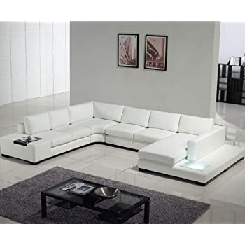 Amazon.com: T35 White Leather Sectional With Light: Kitchen & Dining