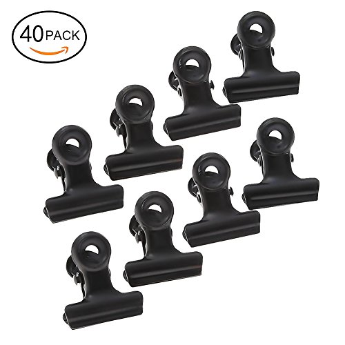 Loving Home 40 Pack 1 Inch Black Small Bulldog Clips Metal Hinge Clips File Paper Money Binder Clamps for Tags Bags, Shops, Office and Home Kitchen Clip File