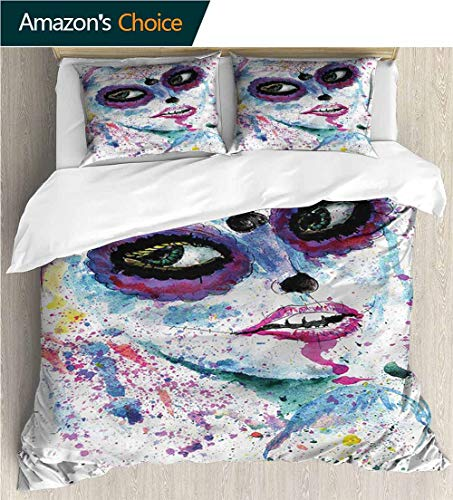 VROSELV-HOME European Style Print Bed Set,Box Stitched,Soft,Breathable,Hypoallergenic,Fade Resistant 100% Cotton Bedspread/Quilt Set,3 Pieces-Girls Halloween Lady Make Up (80