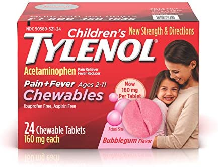Children's Tylenol Chewables, Acetaminophen for Pain & Fever Relief, Bubble Gum, 24 ct