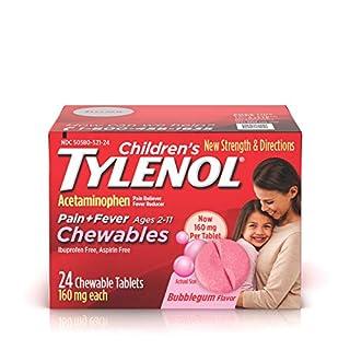 Children's Tylenol Chewables, Acetaminophen for Pain & Fever Relief, Bubble Gum, 24 ct