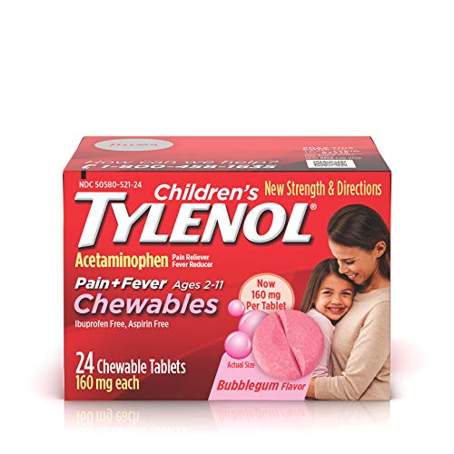 Children's Tylenol Chewables, Acetaminophen for Pain & Fever Relief, Bubble Gum, 24 - Chewable Children Tablets