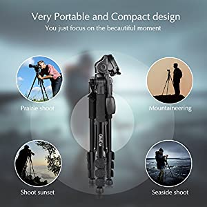 GloEra Camera Tripod Aluminum Portable Lightweight Camera Stand with Quick Release Mount for Canon Nikon Sony Samsung Olympus Panasonic Video Camcorder DSLR DV from GloEra