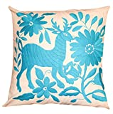 Del Mex Hand Embroidered OTOMI Throw Pillow Cover 18'' by 18'' Mexican (Turquoise)