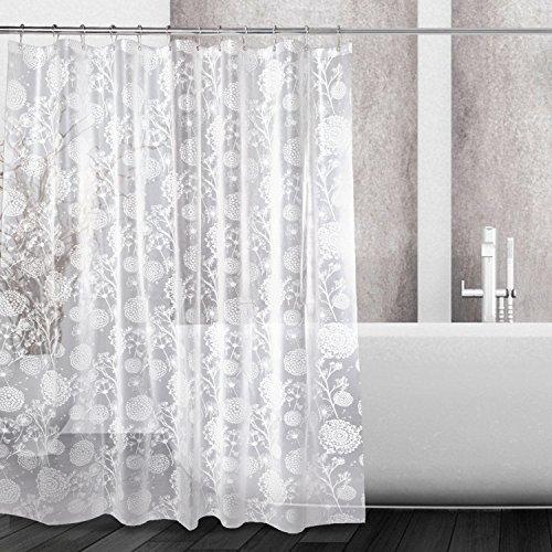(Kalokelvin PEVA 5G Shower Curtain Liner Waterproof with 12 Metal Hooks 72x72 Inches - Dandelion)