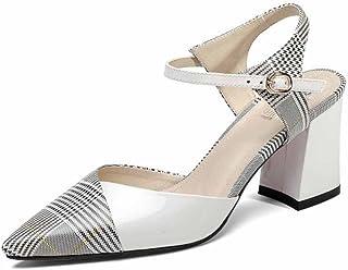 SHINIK Femmes Ankle Strap Pompes Rayé Plaid Motif Haut talon Acrylique à la main Chaussures Imprimé Vachette Sandale