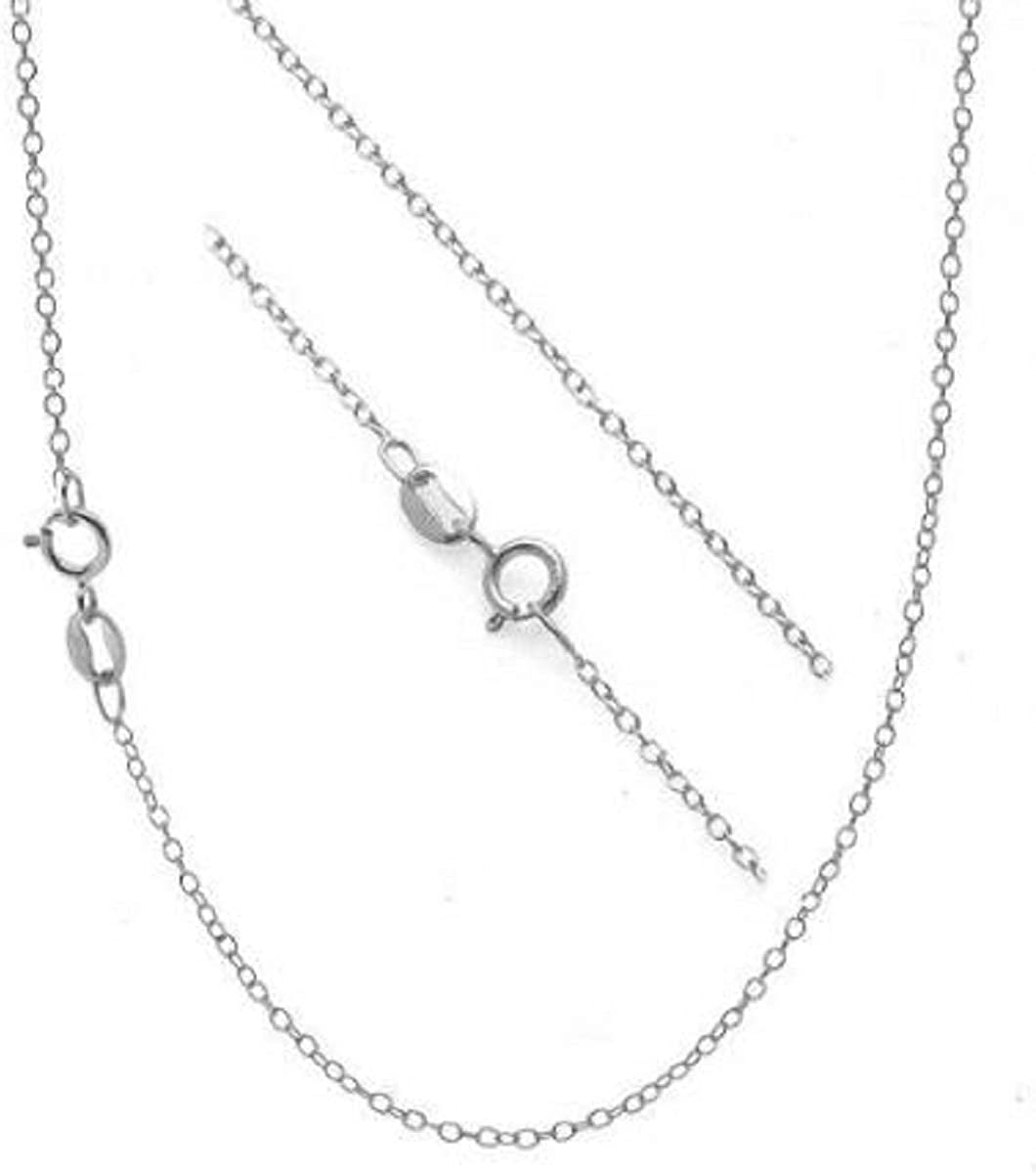 Preciashopping .925 Sterling Silver 1mm Thin Cable Chain Necklace
