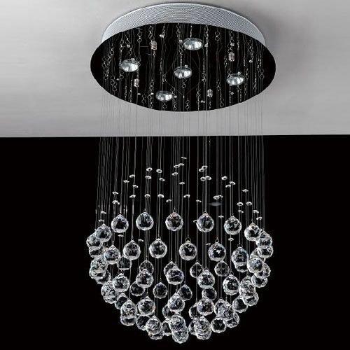 Siljoy Modern Chandelier Rain Drop Lighting Crystal Ball Fixture Globe Pendant Ceiling Lamp H32 X W16 , 5 Lights,