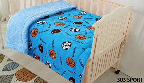Fancy Linen Faux Fur Flannel Borrego Soft Baby Throw Blanket with Sherpa Backing Warm and Cozy Stroller or Toddler Bed Blanket 40″x 50″ Light Blue Sports Basketball Football Soccer