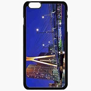 Unique Design Fashion Protective Back Cover For iPhone 6 Plus Case Slim (5.5 inch) Japan Tokyo Capital Metropolis Skyscrapers Houses Night Bridge Lights River Blue Sky Black