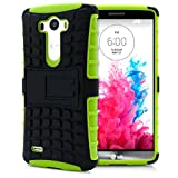 LG G3 Case, MagicMobile® Hybrid Heavy Duty Shockproof Armor Impact Dual Hard Black Plastic Layer and Green Flexible TPU Skin Cover with Kickstand [Free Screen Protector Film and Stylus]