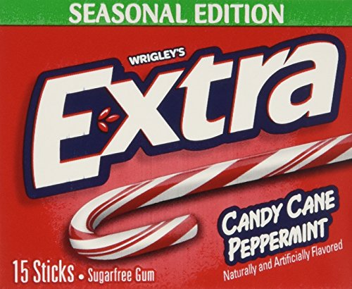 Wrigley's Extra Candy Cane Peppermint Sugar-Free Gum,pack of 6