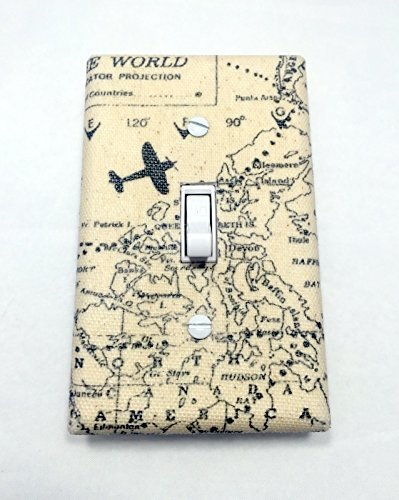 Maps and Planes Fabric Covered Single Light Switch cover / Switch Plate / Outlet Cover / Home Decor / Kid's Room / Nursery / Airplane / Bedroom / Lighting / Wall Art