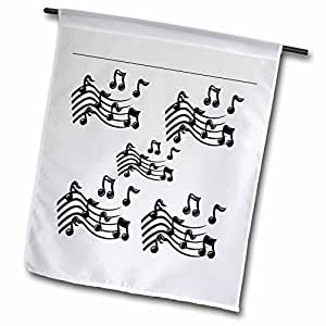 Florene Music - 5 Sets Of Black Notes - 18 x 27 inch Garden Flag (fl_37463_2)