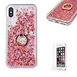 iPhone XR Crystal transparent Case,Funyye Floating Water Liquid Quicksand Design Luxury Sparkly Bling Glitter Hard Shell Protective Cover With Ring Holder for iPhone XR,Rose Gold